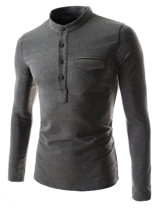 TheLees Mens casual slim fit button point long sleeve tshirts | Amazon.com