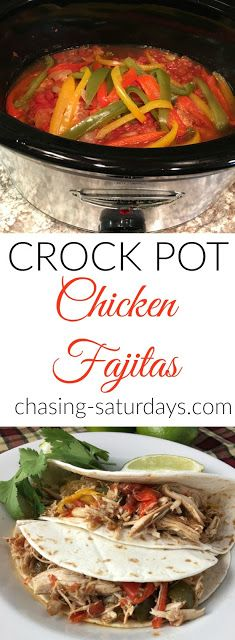 Crock Pot Chicken Fajitas, easy dinners, quick dinners, slow cooker, Chasing Saturdays, Mexican inspired meals