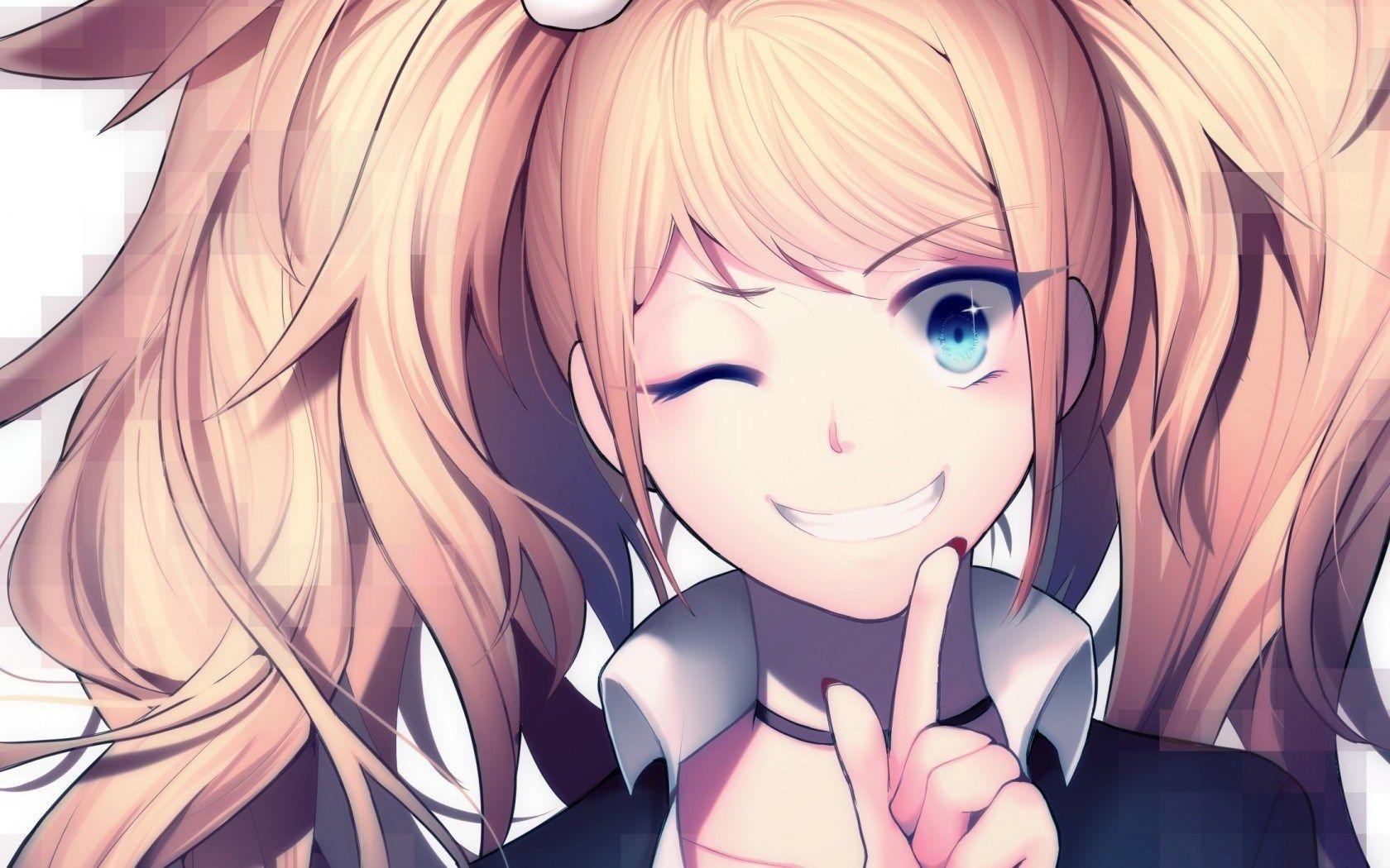 anime girl cool, cute, art, chest, beautiful eyes, hat, hd