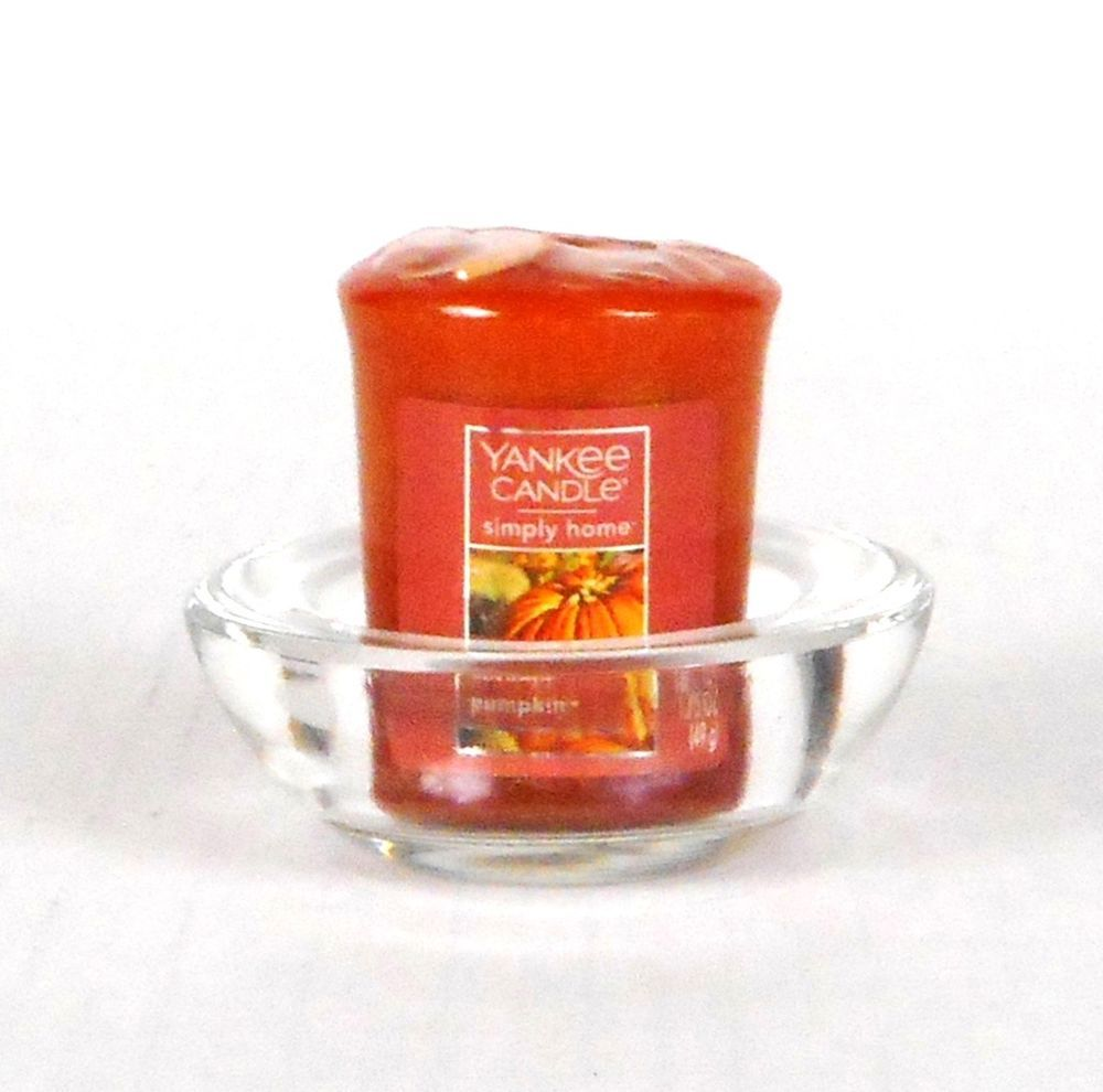Yankee candle votive w glass holder autumn pumpkin scent wrapped