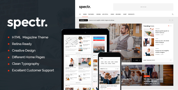 Spectr Is A Responsive Html Template Best Suitable For News Newspaper Magazine Or Review Si Magazine Theme Wordpress Blog Themes Wordpress Fun Website Design