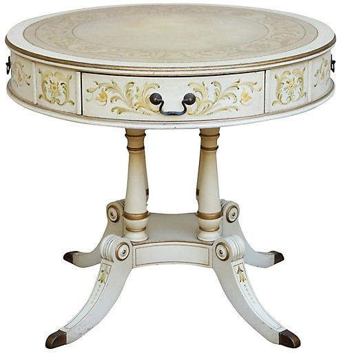 One Kings Lane Vintage French Empire Leather Top Drum Table ...