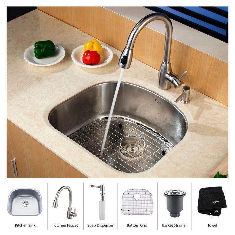 """Kraus KBU10-KPF2130-SD20 Kitchen Combo - 23-1/16"""" Undermount Single Bowl 16 Gaug Stainless Steel Fixture Kitchen Sink Combination"""