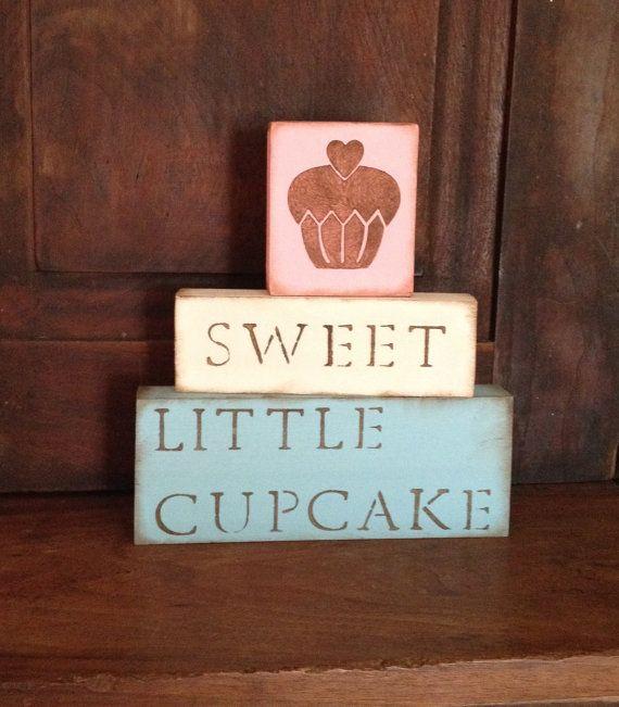 Items Similar To Sweet Little Cupcake Blocks Nursery Decor Cute Pink Blue Yellow Tan On Etsy