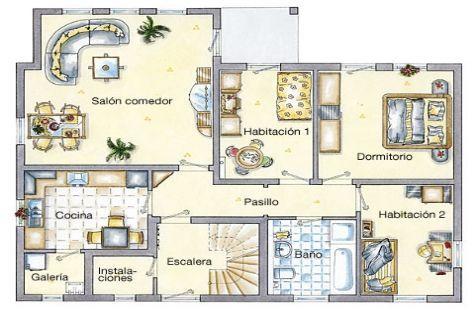 Resultado de imagen para planos de casas de un piso tipo L | planos ...