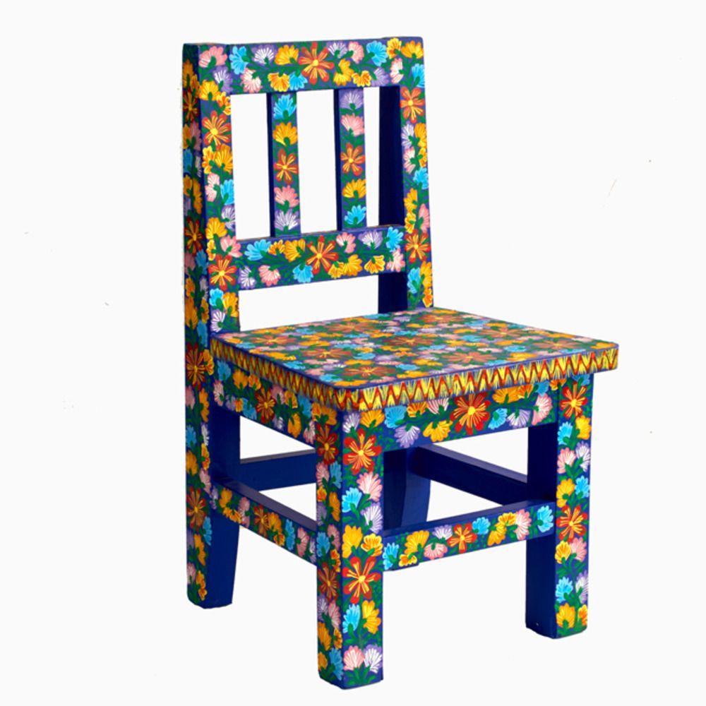 Blue Bouquet Mexican Folk Art Chair Oaxaca Mexico
