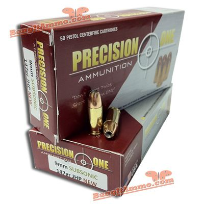 Precision ONe, 9mm Luger, 147 gr , JHP (Subsonic) | Ammo