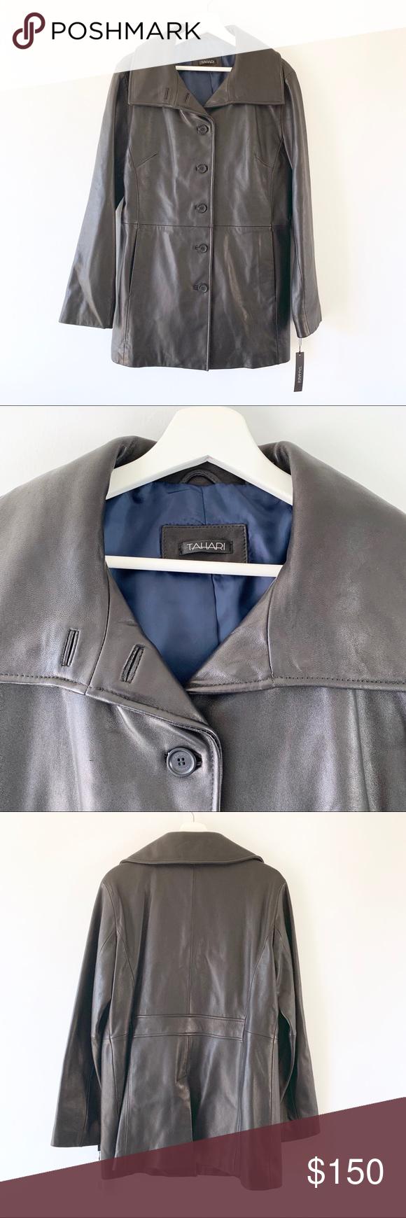 Tahari Black Leather Pea Coat Jacket Nwt Size Large Tahari Black Leather Jacket Fitted Silhouette Side Pockets Lo Peacoat Jacket Coats Jackets Women Fashion [ 1740 x 580 Pixel ]