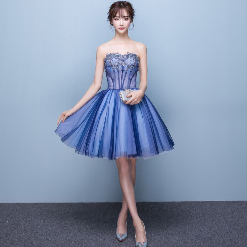 Sexy Ocean Blue Cocktail Dresses 2019 A-Line / Princess Strapless Beading Sequins Crystal Lace Flower Sleeveless Backless Short Formal Dresses #backlesscocktaildress