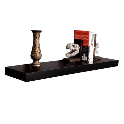 36 Inch Mission Floating Wall Shelf Black 34 99 Floating Wall Shelves Wall Shelves Wooden Wall Shelves