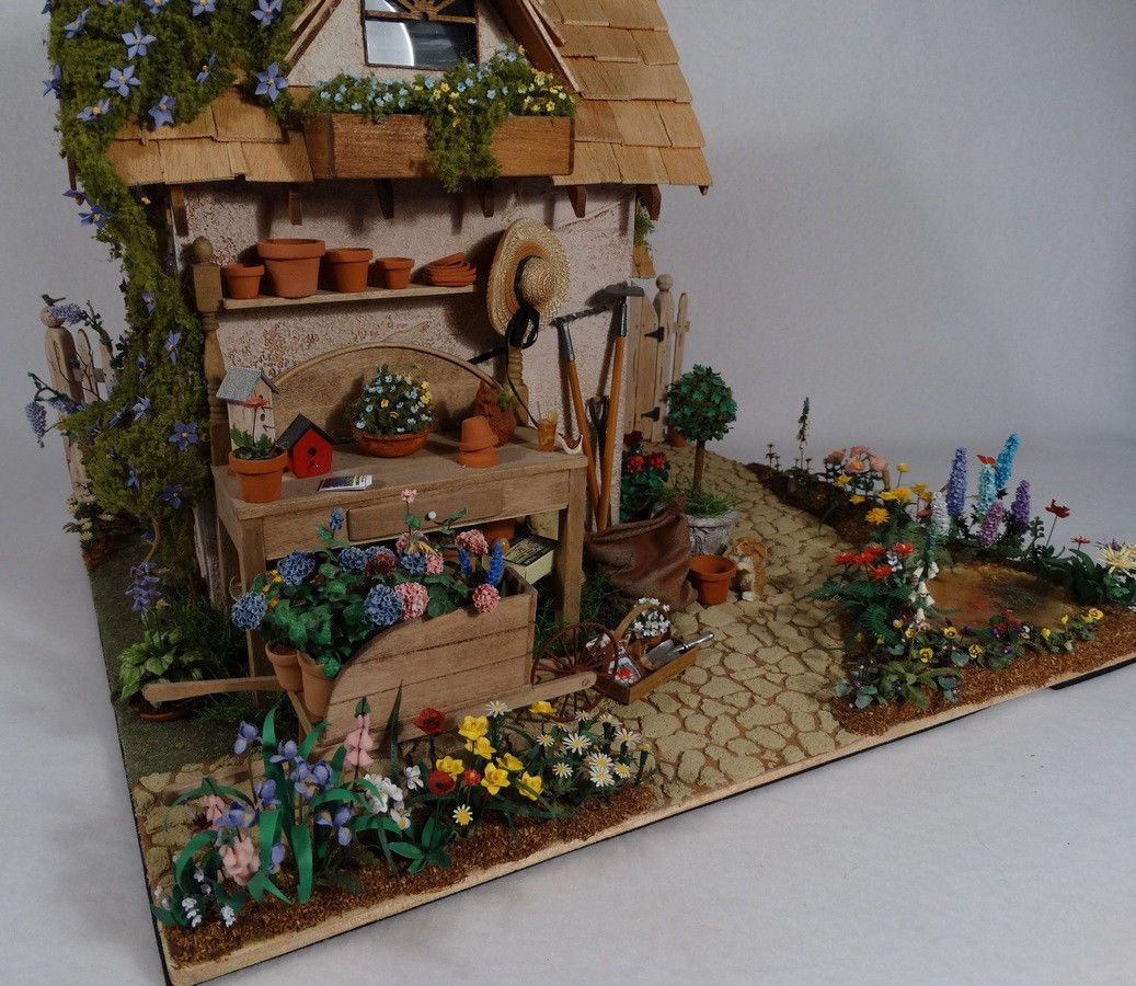 1 12 scale handcrafted miniature potting shed scene tons for Mini potting shed