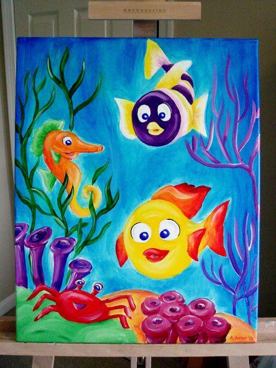 Kids Painted Fish kids+fish+canvas+paint...