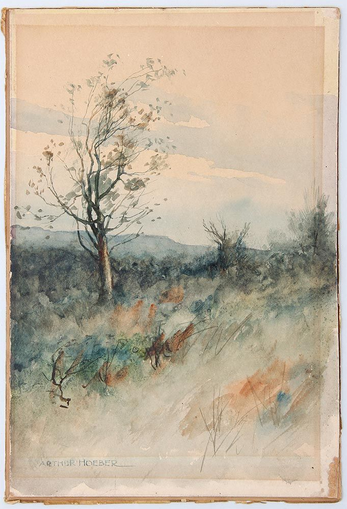 "Hillside with tree, Arthur Hoeber, watercolor on paper laid to board, 11-3/4 x 8"", private collection."