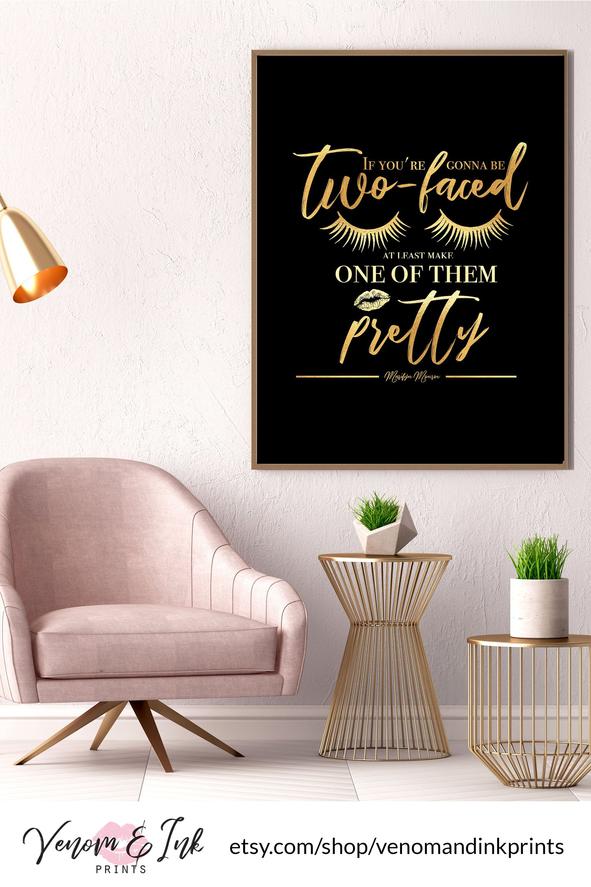 Marilyn Monroe Quote Wall Art Black And Gold Printable Black And Gold Print Black And Gold Decor Black And Gold Wall Art Gold Foil Print Gold Decor Gold Wall Art Wall Art