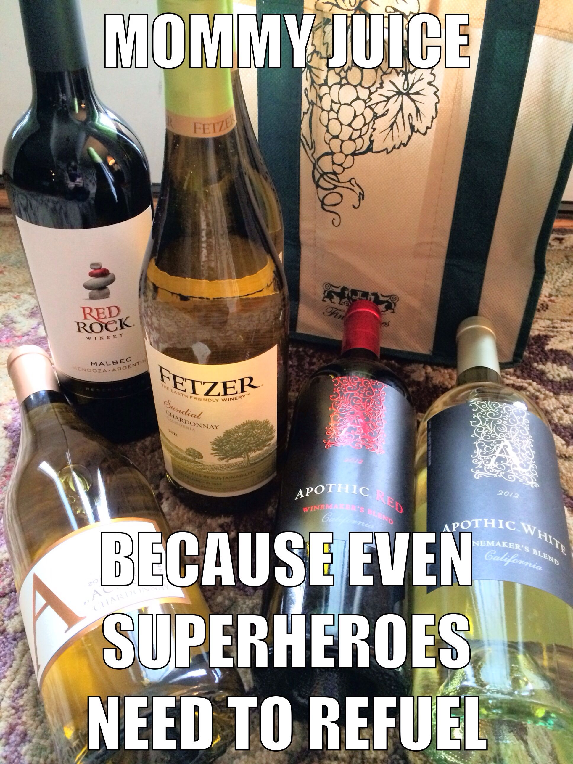Mommy juice = an essential food group for us superheroes #funny #lol #wine