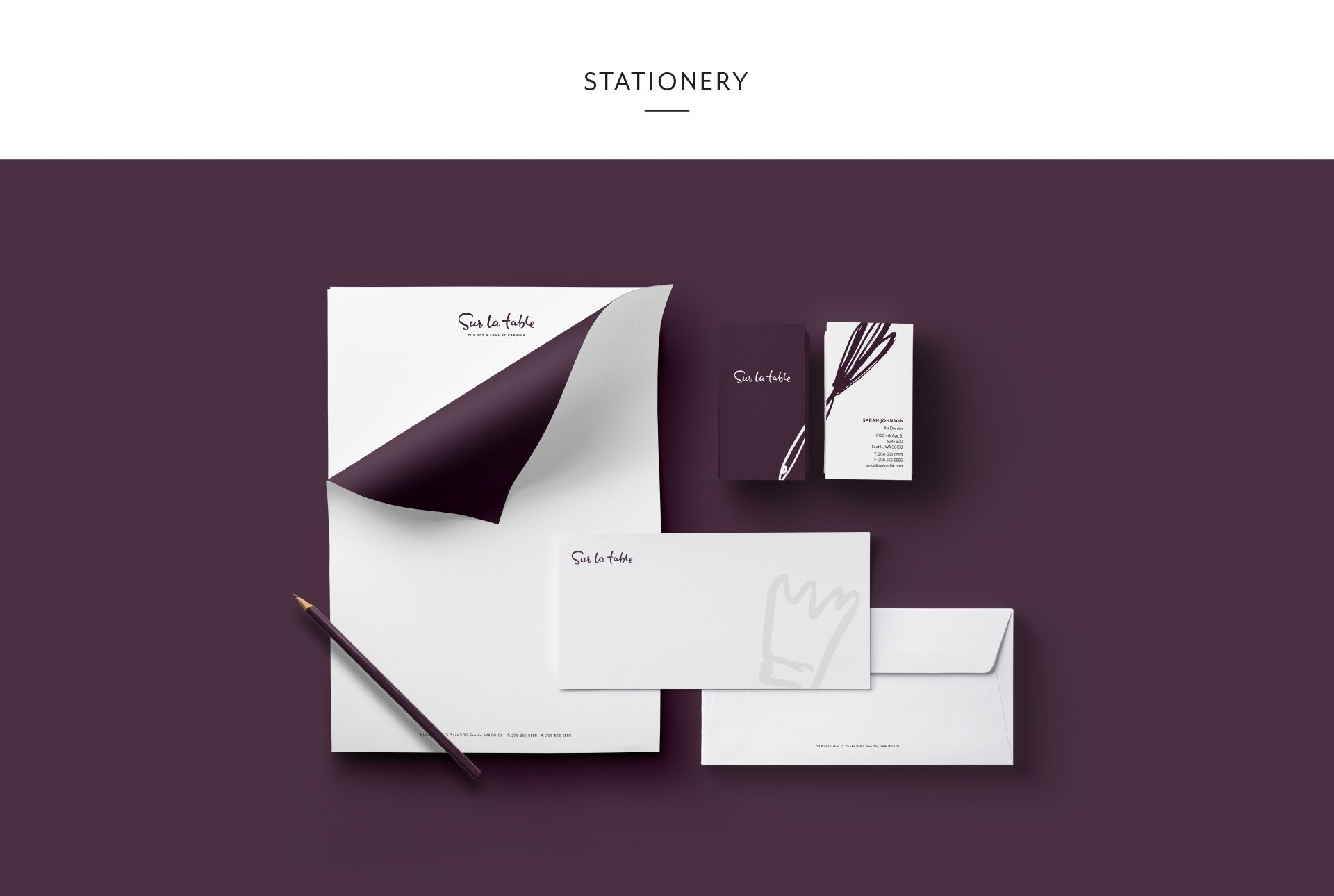 Sur La Table Rebrand Brand Identity Creative Stationery