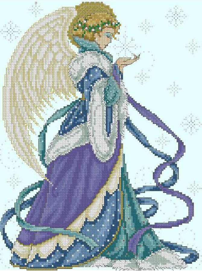 Вышивка рождественские ангелы схема