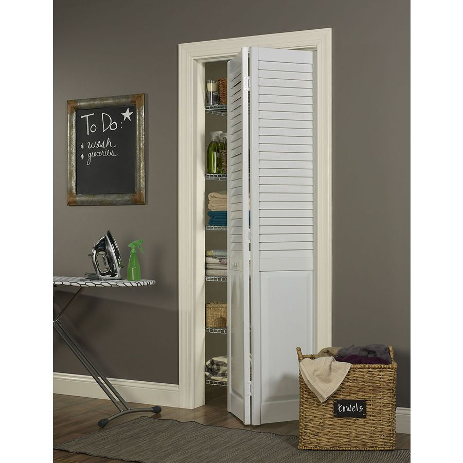 Pinecroft Seabrooke 36 In X 80 In White 1 Panel Pvc Bifold Door Hardware Included Lowes Com Bifold Door Hardware Bifold Doors Bifold Closet Doors