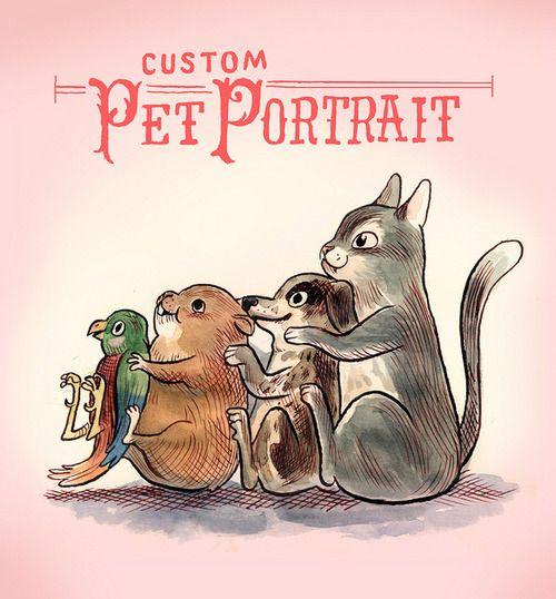Custom Pet Portrait up for bid! from Laura Park on Flickr via tumblr