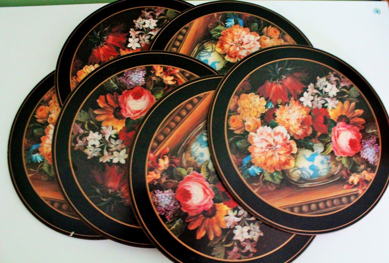 Vintage Set 6 Black Pimpernel Place Mats Floral Round Etsy Placemats Table Mats Cork Table
