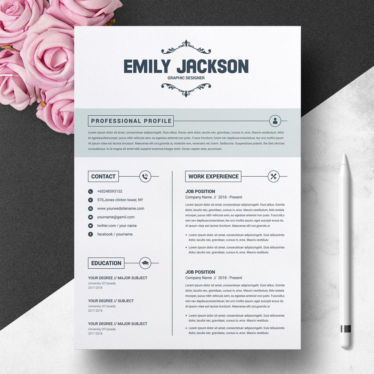 Emily Jackson Resume Template 74376 Cv template, Resume