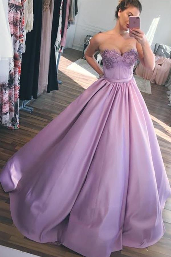 255d6a3db766 Ball Gown Sweetheart Lavender Long Prom Dresses with Appliques PG712 ...