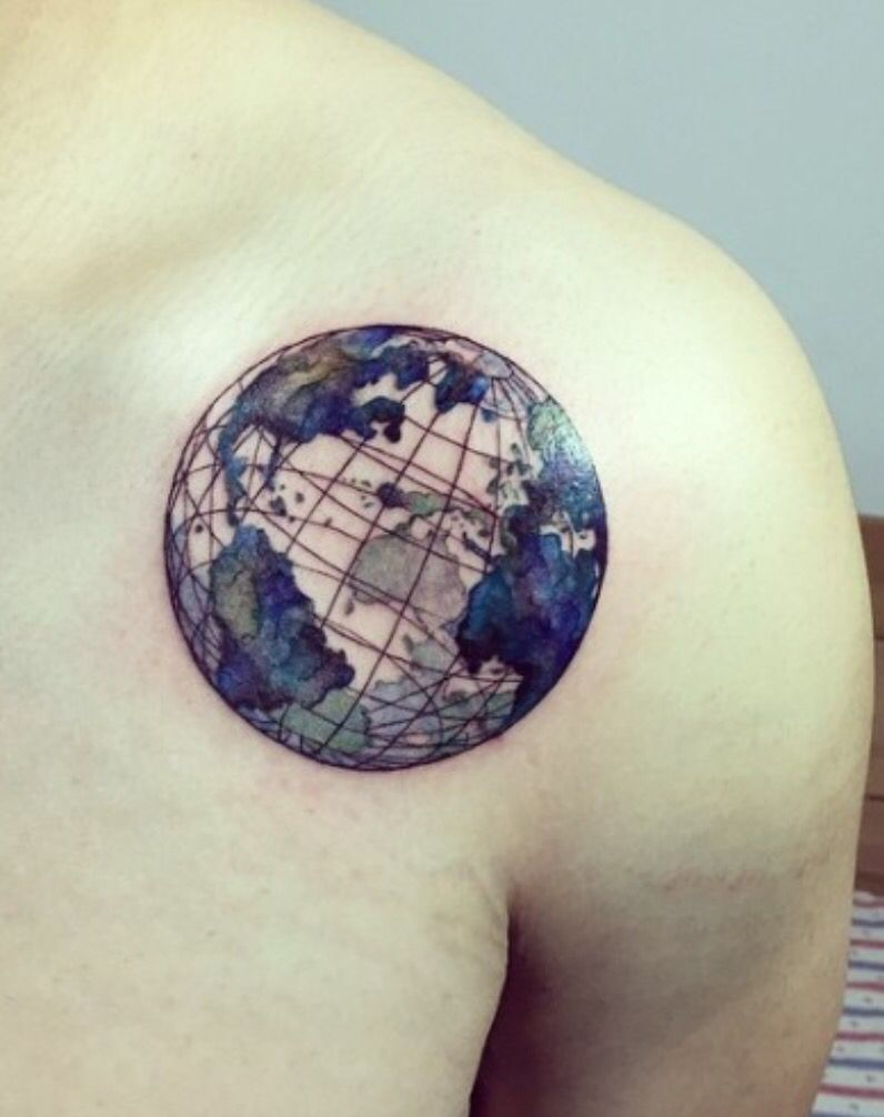 planet earth tatoo pinte