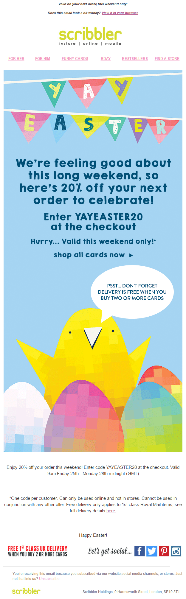 Easter offer email from scribbler with coupon code email marketing personalised cards birthday cards funny cards rude cards christmas cards free delivery on 2 or more cards negle Choice Image