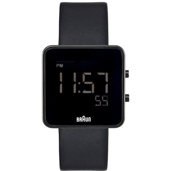 Braun Sqaure Digital Watch - Black Face/Leather Band - BN-46BKBKG (1,545 CNY) ❤ liked on Polyvore featuring jewelry, watches, accessories, fillers, bracelets, dial watches, black face watches, water resistant watches, leather band digital watch and digital watch