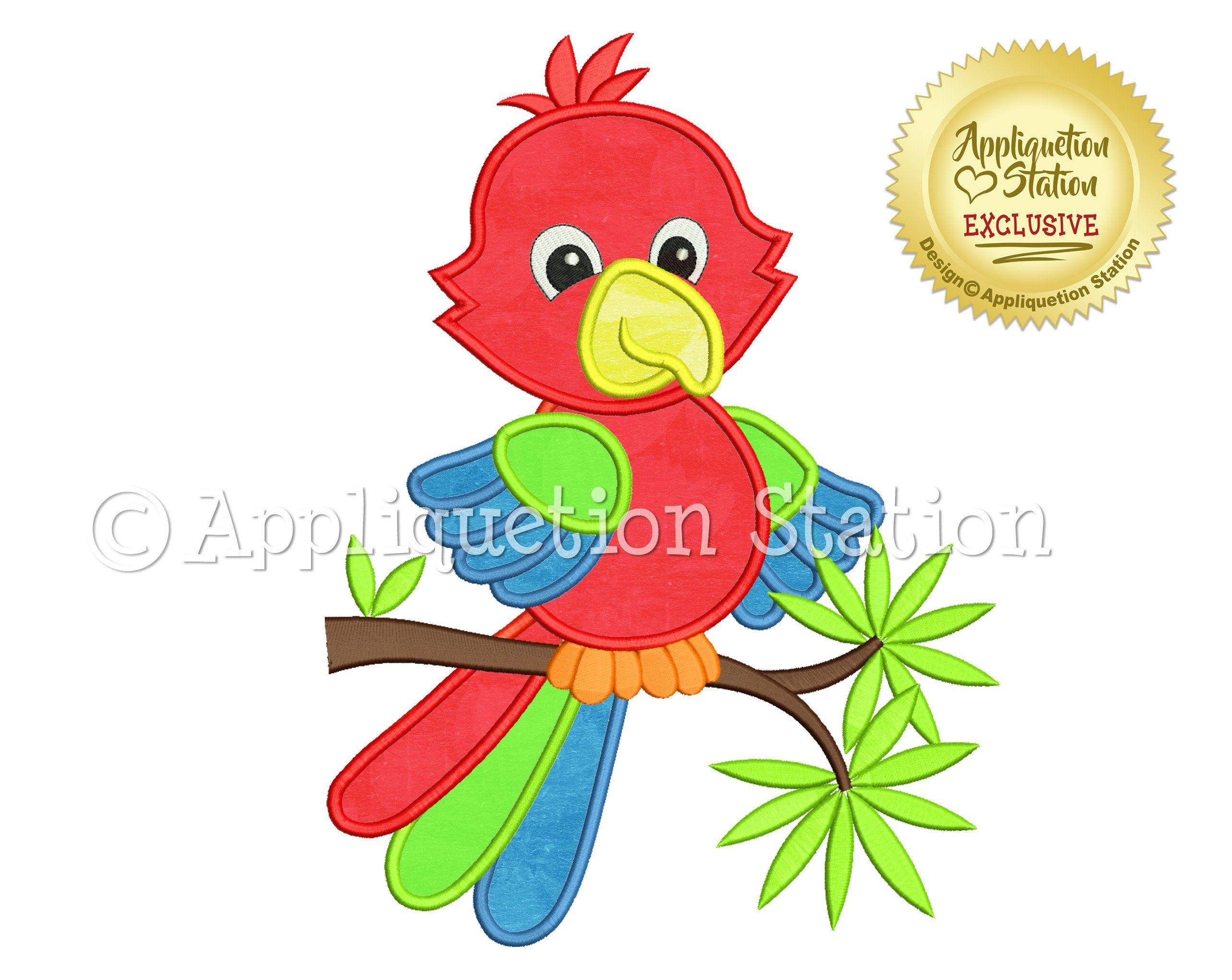 Feder Baby Papagei Applique Maschine Stickerei Design Dschungel