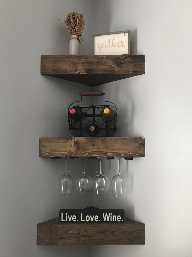 Rustic Wood Wine Rack Wine Rack Corner Wine Rack Floating Wine Rack Wall Wine Rack Corner Shelf Kitchen Wine Rack Wood Wine Rack In 2021 Corner Wine Rack Wine Rack Design