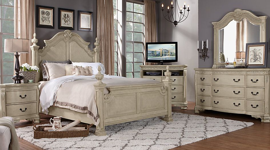 Cortinella Cream 7 Pc King Poster Bedroom Furniture In