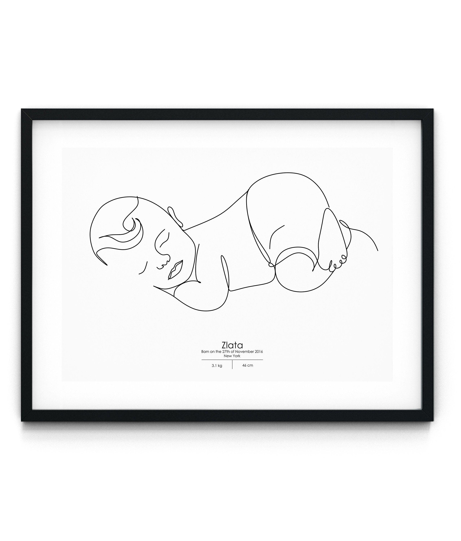 custom baby line art personalized nursery new baby gift hand drawn art custom line drawing from photo custom child line drawing