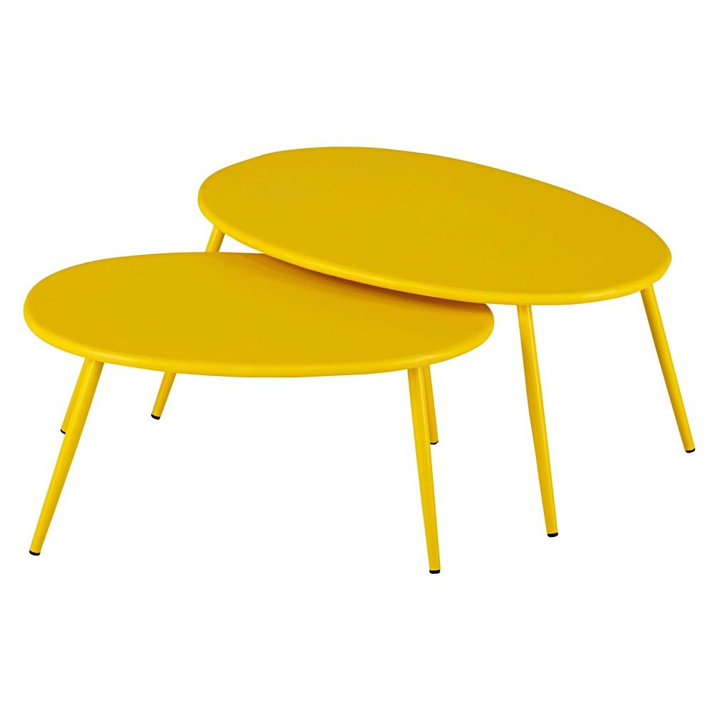 The LUMPA yellow metal nest of tables will win you over with their