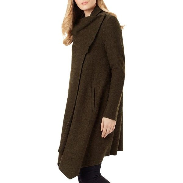 Phase Eight Bellona Duster Cardigan (645 BRL) ❤ liked on Polyvore featuring tops, cardigans, olive, brown cardigan, olive green top, olive top, cardigan top and brown tops