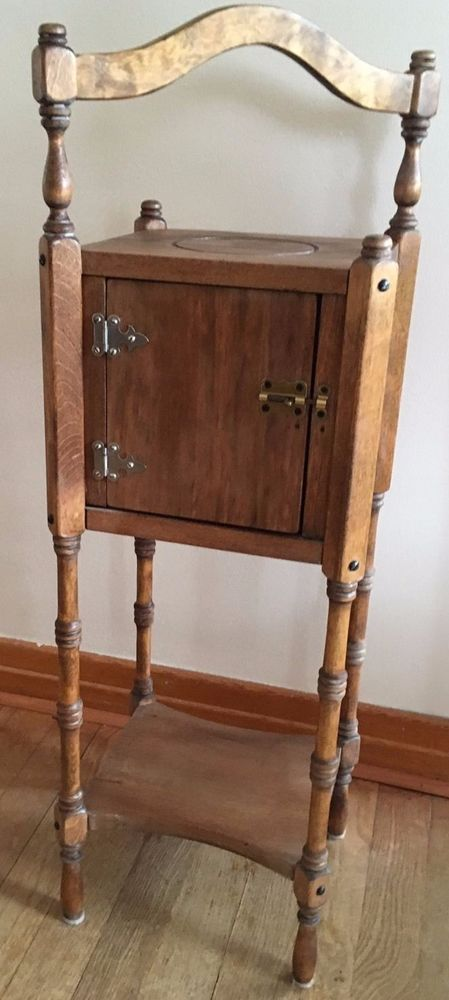 Antique Wood Smoking Stand Pipe Cabinet