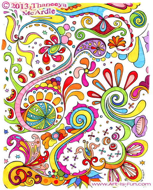 This Free Abstract Coloring Page Is Filled With Intricate Details And Fun Psychedelic Designs From A Printable Book By Thaneeya McArdle