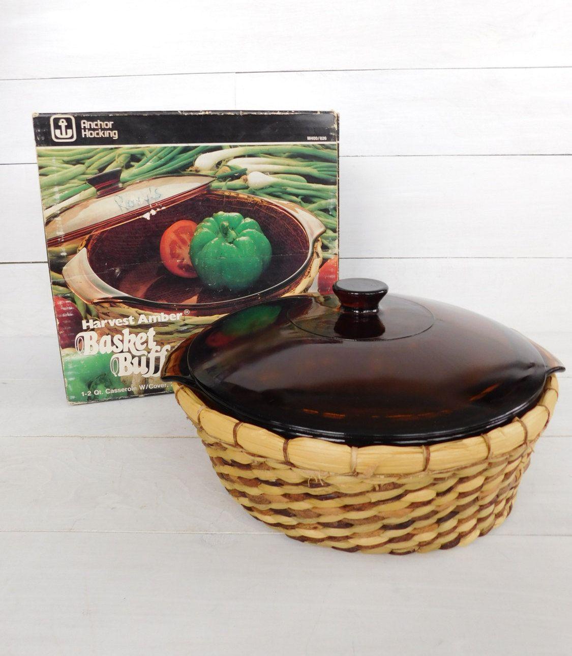 Anchor Hocking Harvest Amber Basket Buffet Casserole Dish, Woven Basket Serving…