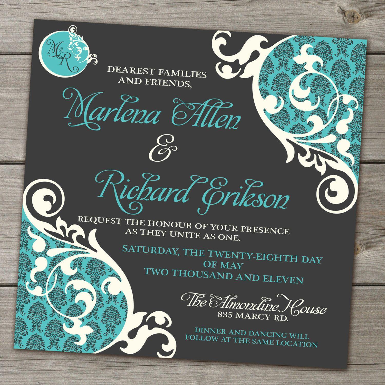 Digital Wedding Invitation Ideas: Bold Brocade And Swirls Wedding Invitation