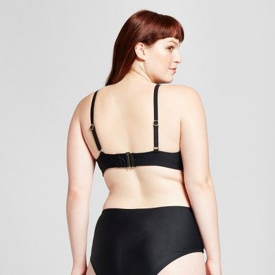 aebcca8f4 Women s Plus Size Laser Cut Bralette Bikini Top - Xhilaration Black ...