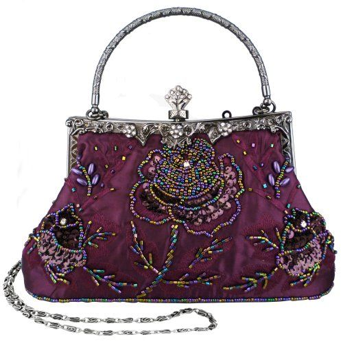 Purple Exquisite Antique Seed Beaded Rose Evening Handbag, Clasp Purse Clutch w/Hidden Handle and Chain