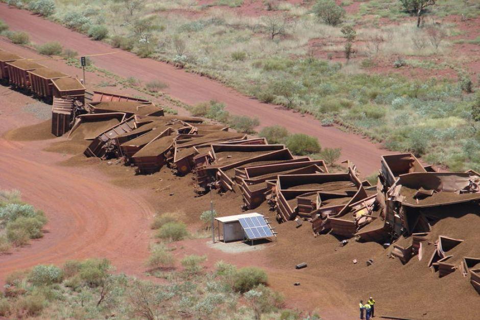 A massive Rio Tinto iron ore train derailed in Western Australia's