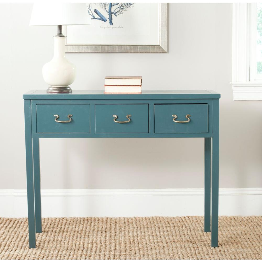 Safavieh Cindy Teal Storage Console Table Amh6568h The Home Depot Wood Console Table Console Table Furniture
