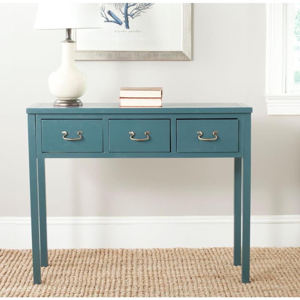 Safavieh Cindy Slate Teal Storage Console Table Amh6568h Gray
