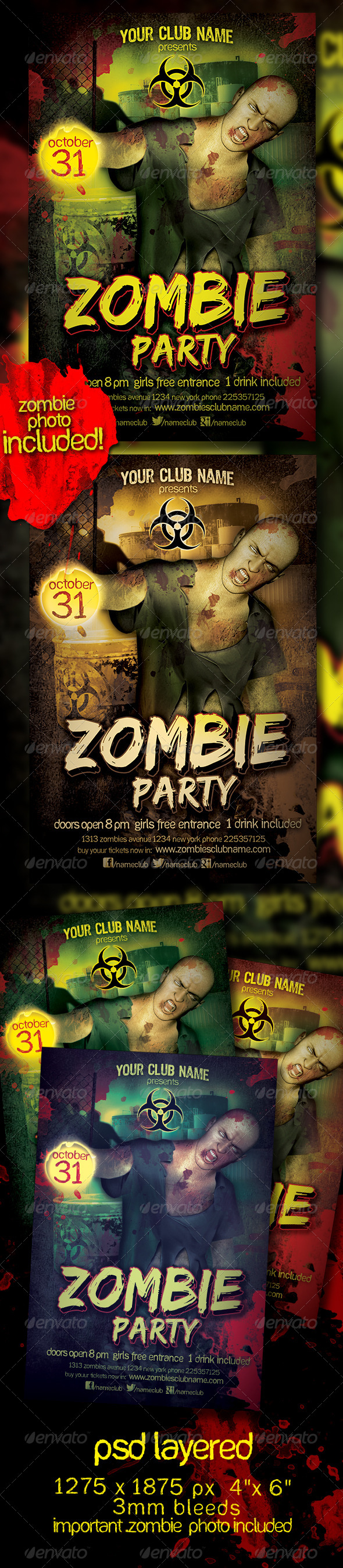 Zombie Party Flyer Template | Zombie party, Party flyer and Flyer ...
