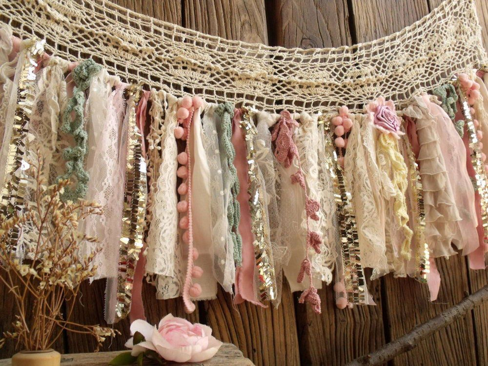 Photo of Shabby Boho Chic Blush Pink GOLD Birthday Banner Nursery Valance Crochet Lace Sparkle Sequin Garland Curtain Crib Garland Window Treatment – Garlands