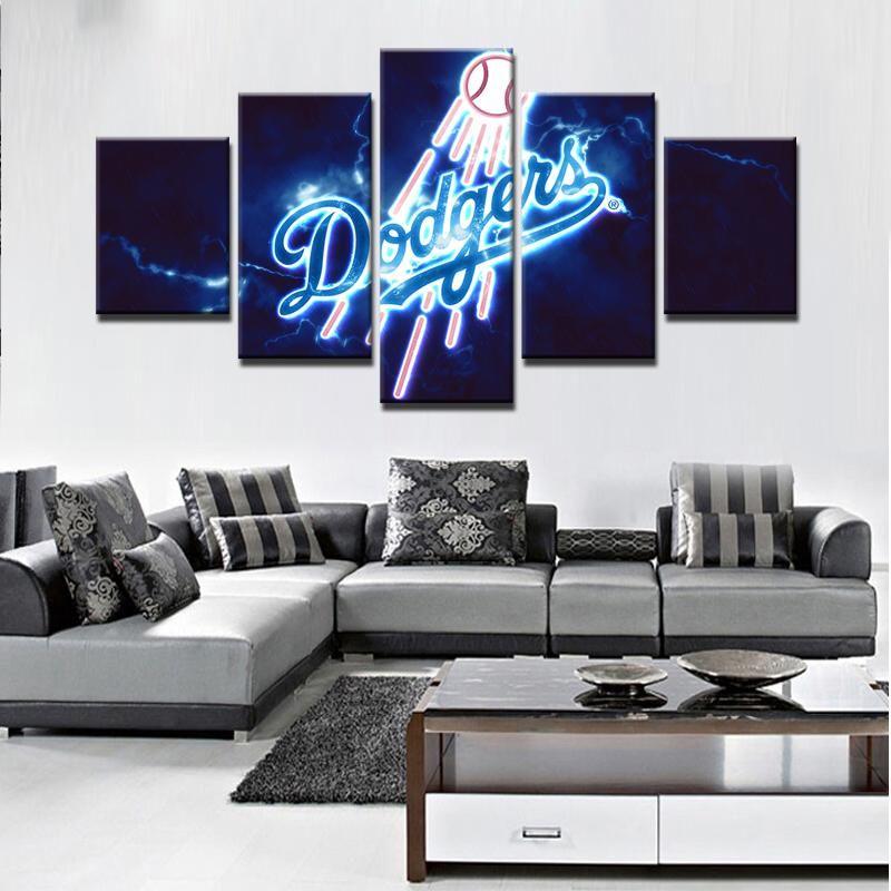 Los Angeles Dodgers Mlb Baseball 5 Panel Canvas Wall Art Home Decor Canvas Wall Decor Modern Wall Art Canvas Baseball Canvas