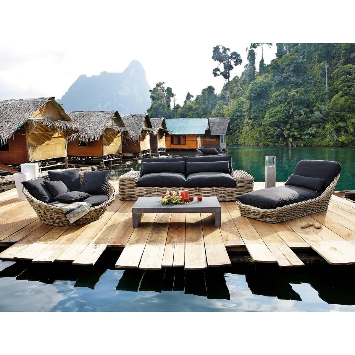 amazing canap de jardin places noir rotin st tropez. Black Bedroom Furniture Sets. Home Design Ideas