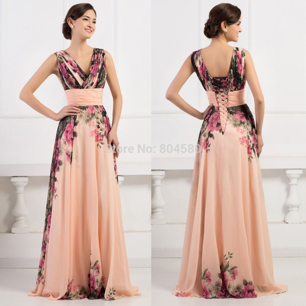 56a44101d5 3 Designs Grace Karin Stock One Shoulder Flower Pattern Floral Print Chiffon  Evening Gown Dress Party Prom dresses 2015 CL750234