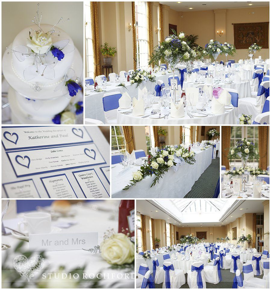 The Organgery, blue themed wedding breakfast at the Lawn Rochford ...